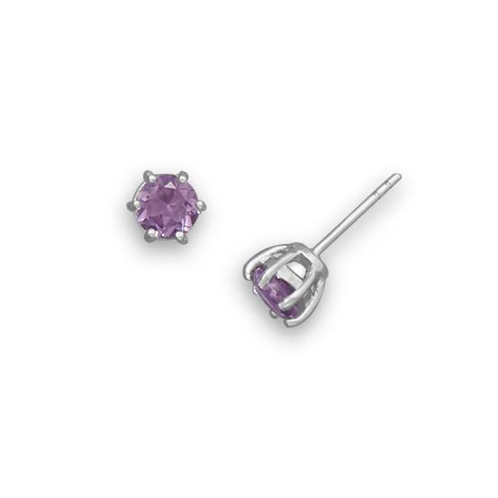 Rhodium Plated Amethyst Stud Earrings