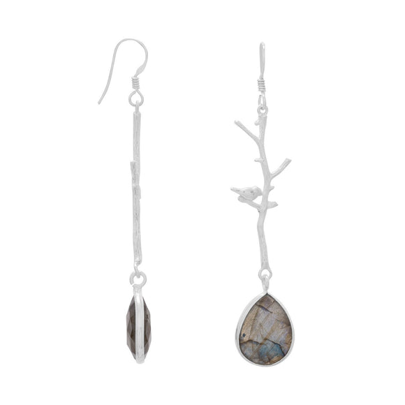 Tree Branch Earrings with Birds and Faceted Labradorite