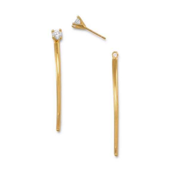 14 Karat Gold Plated CZ Curve Bar Front Back Earrings