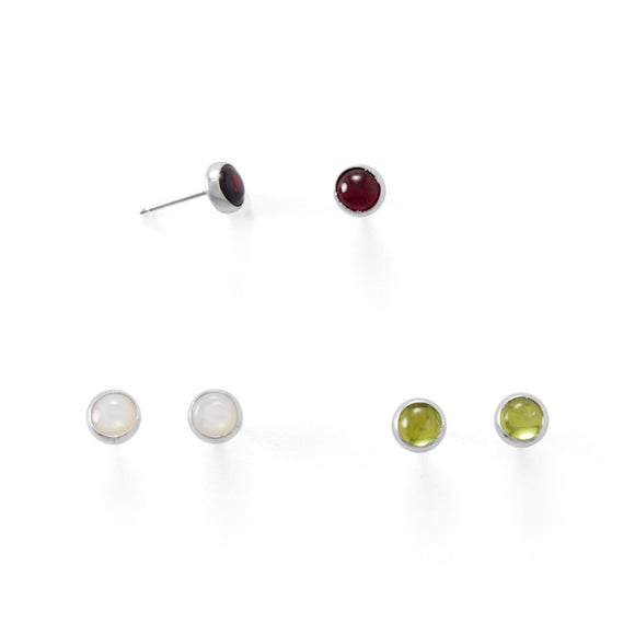 Set of 3 Peridot, Mother of Pearl, and Garnet Button Studs