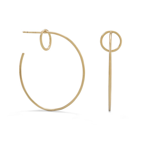 14 Karat Gold Plated Circle Post 3/4 Hoops