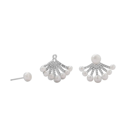 Rhodium Plated CZ and Cultured Freshwater Pearl Front/Back Earrings