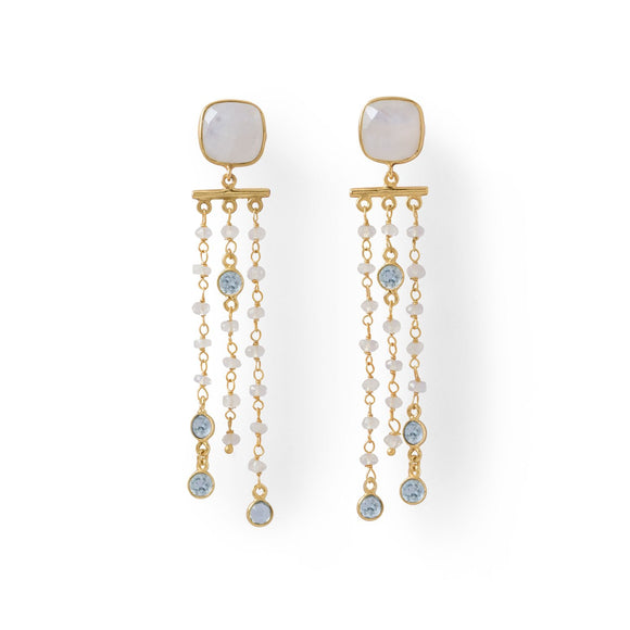 14 Karat Gold Plated Rainbow Moonstone Post Earrings