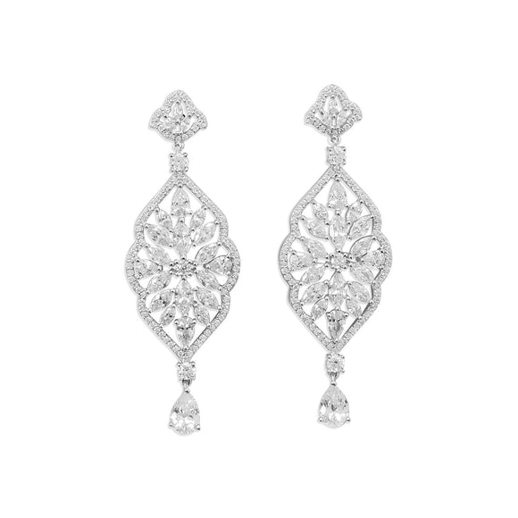 Rhodium Plated Marquise CZ Dangle Earring
