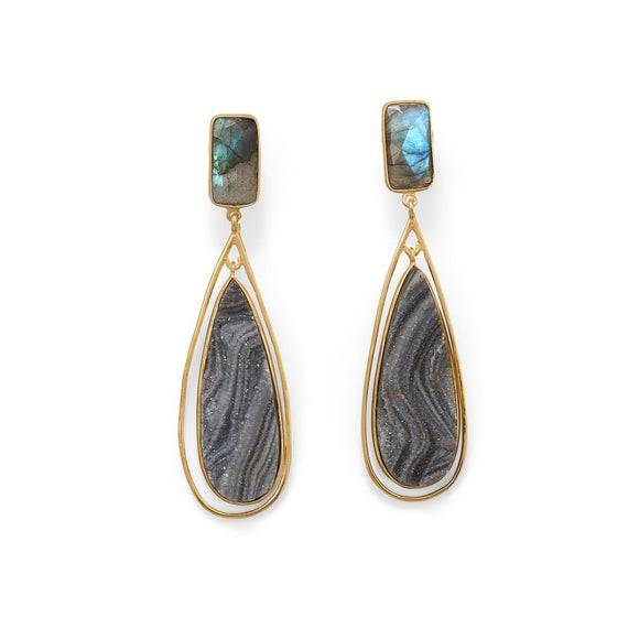 14 Karat Gold Plated Labradorite and Desert Druzy Earrings