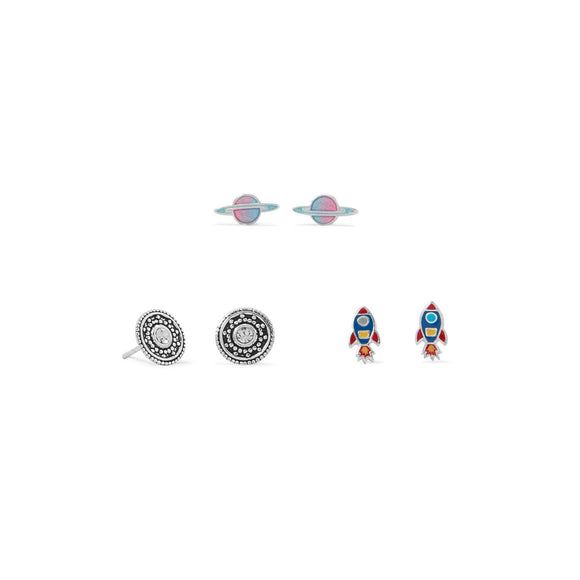 Rocket, Planet and Disc Earring Set