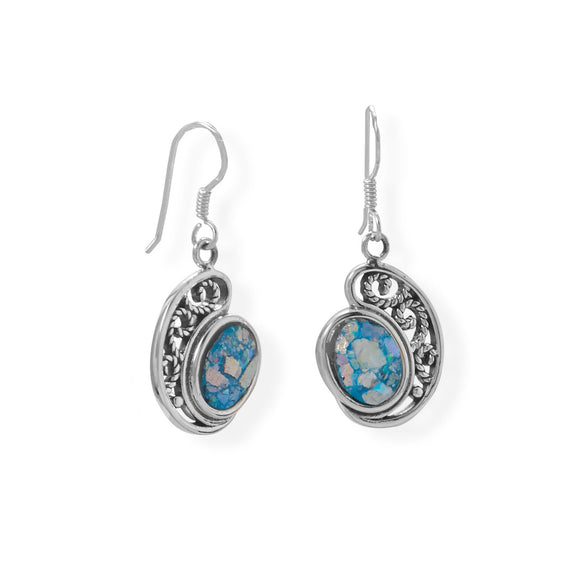 Oxidized Paisley Shape Roman Glass Earrings