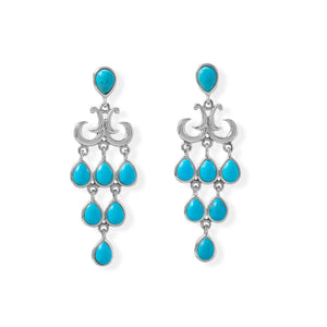 Pear Shaped Reconstituted Turquoise Chandelier Earring