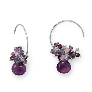 Plum Perfect! Rhodium Plated Multi Stone Beaded Wire Earring