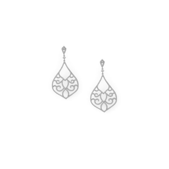 Rhodium Plated Ornate CZ Raindrop Post Earrings