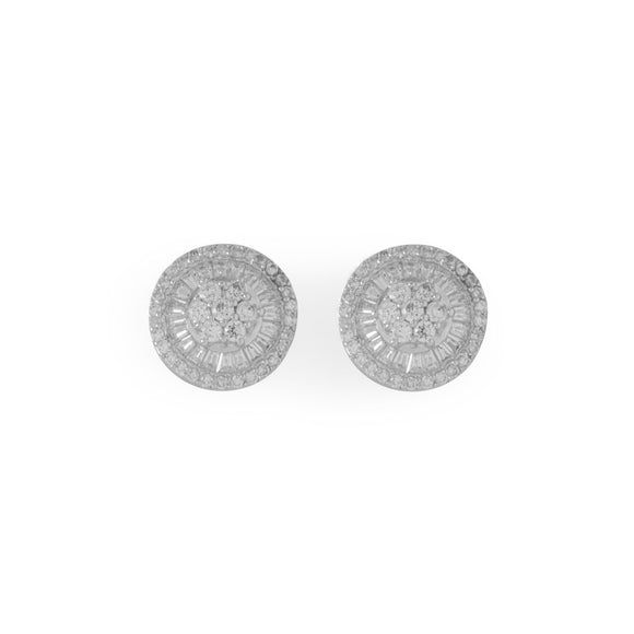 Rhodium Plated Round Baguette CZ Post Earrings