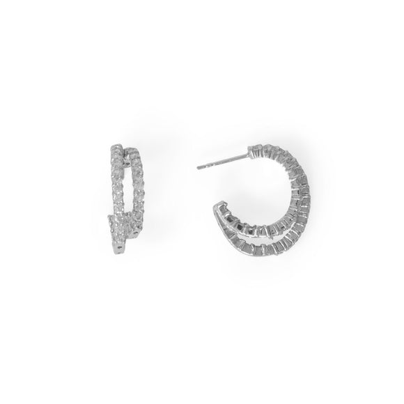 Rhodium Plated In/Out CZ Double 3/4 Hoop Earrings