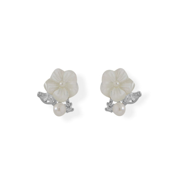 Mother of Pearl and CZ Flower Earrings