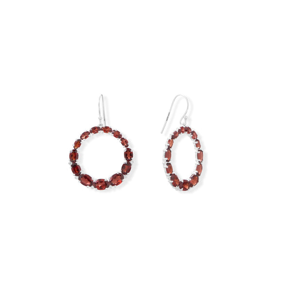 Graduated Garnet Open Circle Earrings