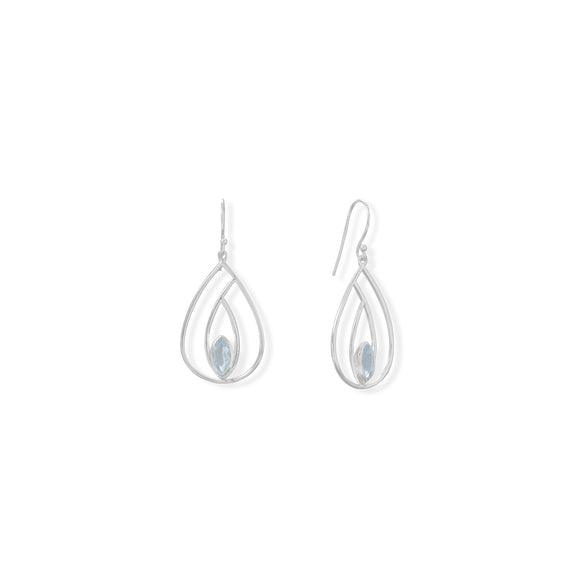 Polished Blue Topaz French Wire Pear Earrings