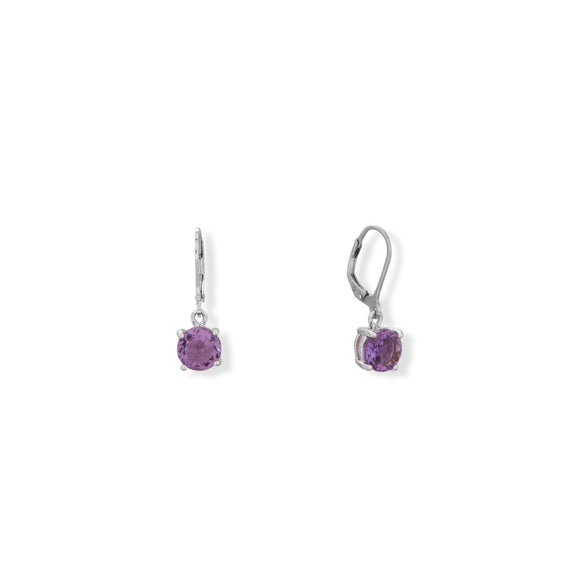 Rhodium Plated 8mm Amethyst Lever Earrings