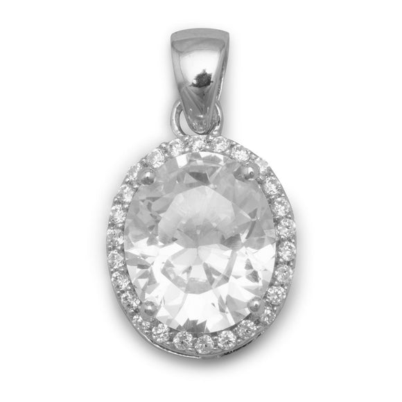 Rhodium Plated Oval CZ Pendant