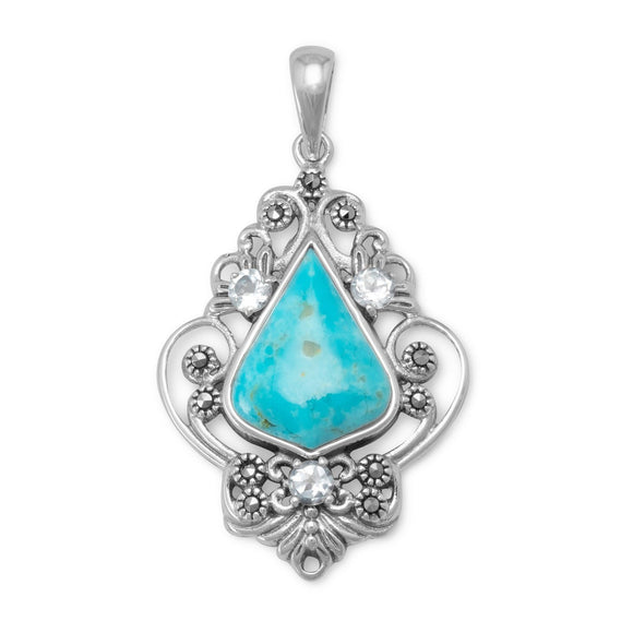 Reconstituted Turquoise, Blue Topaz and Marcasite Pendant