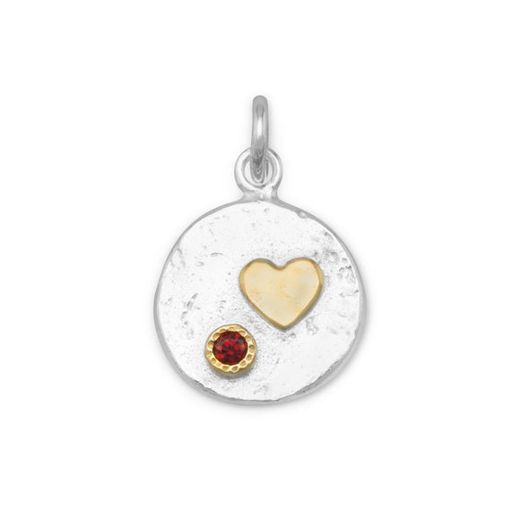 Two Tone Pendant with Heart and Red CZ