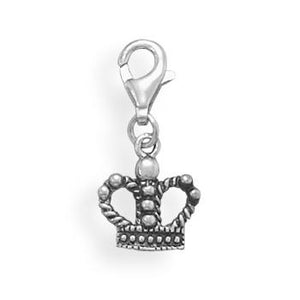 Oxidized Crown Charm with Lobster Clasp