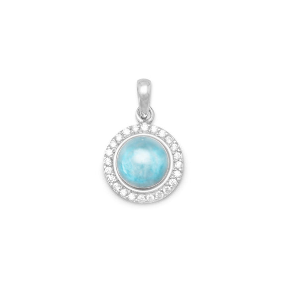 Rhodium Plated Round Larimar and CZ Pendant