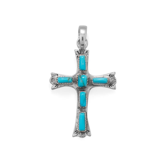 Oxidized Cross with Rectangle Turquoise Pendant