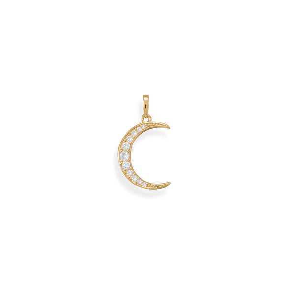 Be Bright! 14 Karat Gold Plated CZ Crescent Moon Pendant