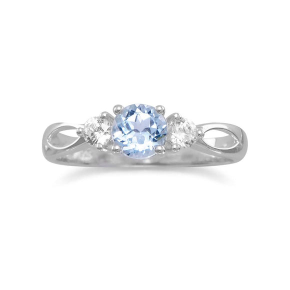 Rhodium Plated Blue Topaz Ring