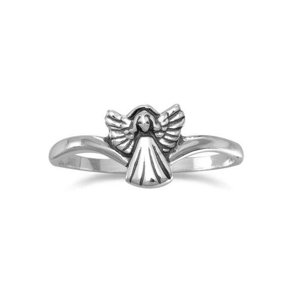 Small Oxidized Angel Ring