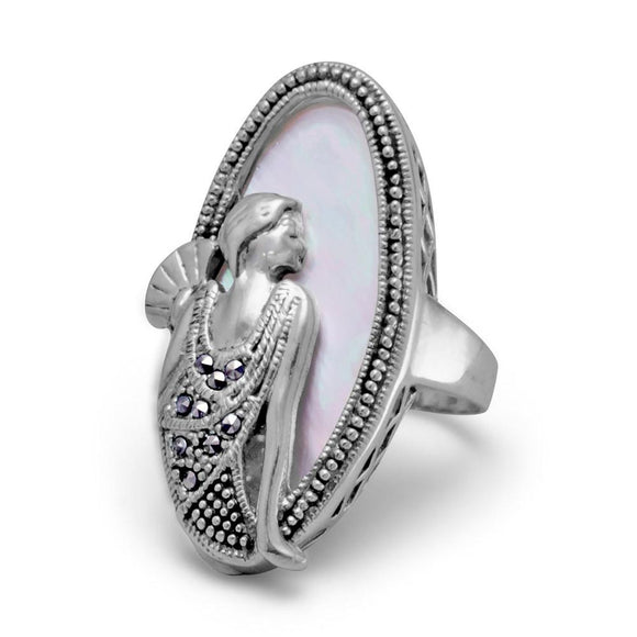 Shell Ring with Marcasite Art Deco Woman
