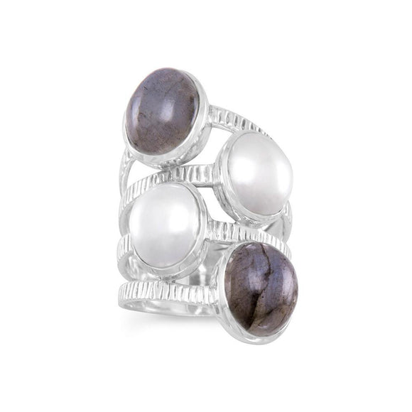 Oxidized Labradorite and Cultured Freshwater Pearl Ring