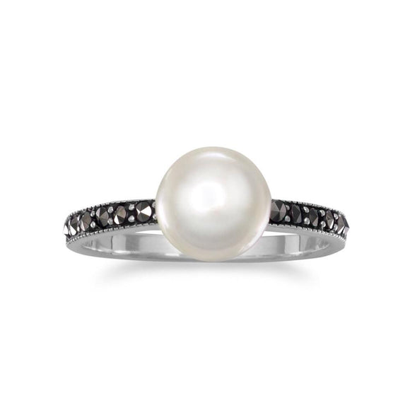 Marcasite and Cultured Freshwater Pearl Ring