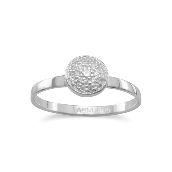 Pave CZ Disc Stackable Ring