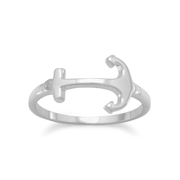 Rhodium Plated Anchor Ring