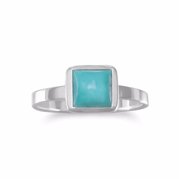 Small Square Freeform Faceted Turquoise Stackable Ring