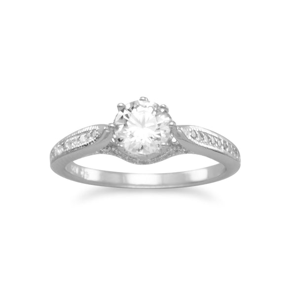 Rhodium Plated Solitaire CZ Ring