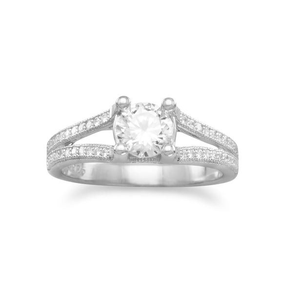 Rhodium Plated CZ Ring with Split CZ Band