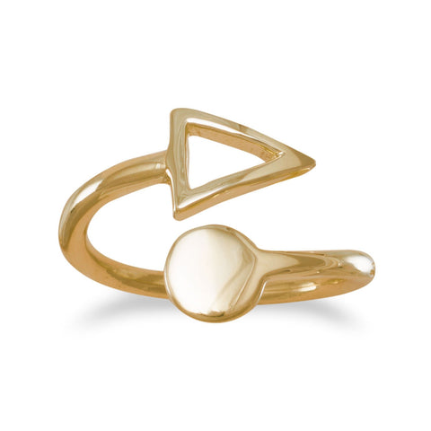 14K Gold Plated Open Ring with Circle and Triangle Ends