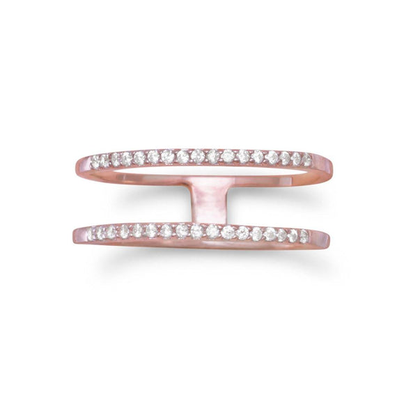 18 Karat Rose Gold Plated Double Row CZ Ring