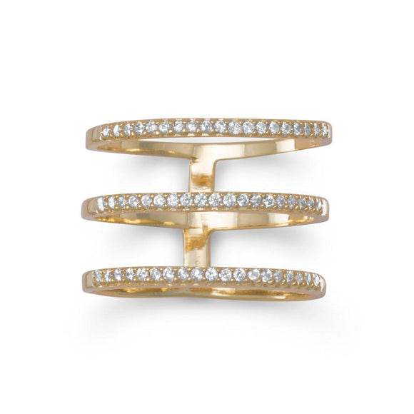 18 Karat Gold Plated Triple Row CZ Ring