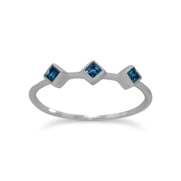 Rhodium Plated London Blue Topaz Ring