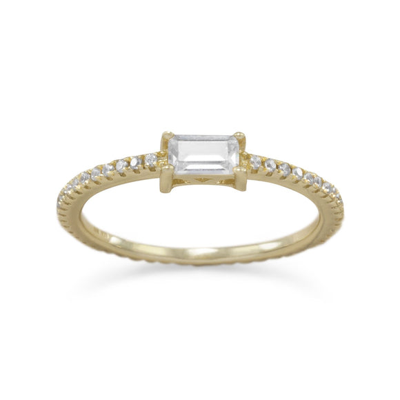 14 Karat Gold Plated Rectangle CZ Ring