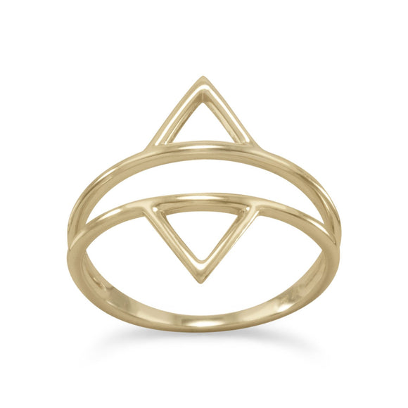 14 Karat Gold Plated Double Triangle Ring