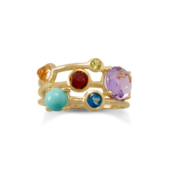 14 Karat Gold Plated Multi Gemstone Ring