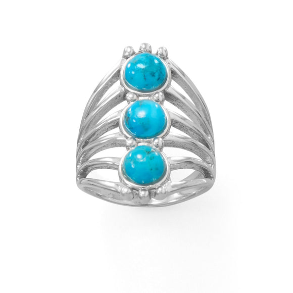 Polished Six Line Reconstituted Turquoise Ring