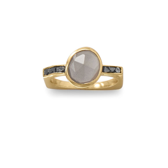 14 Karat Gold Plated Grey Moonstone and Diamond Chips Ring