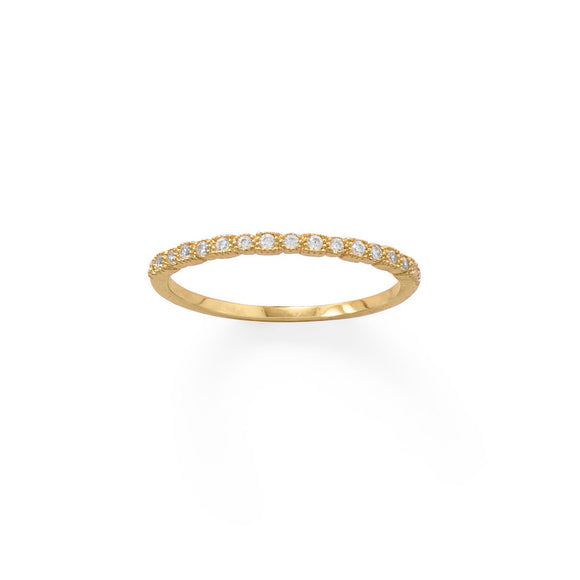 14 Karat Gold Plated Thin CZ Ring