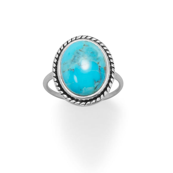 Oval Turquoise with Rope Edge Ring