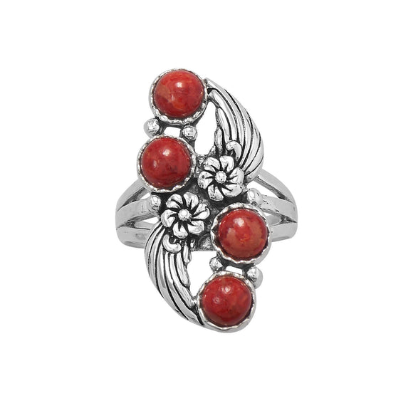 Floral Design Dyed Red Coral Ring