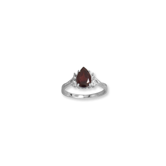Rhodium Plated Garnet and White Topaz Ring
